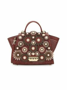 Perforated Leather & Faux-Pearl Floral Top Handle Bag