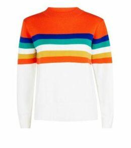Cameo Rose Orange Colour Block Stripe Jumper New Look