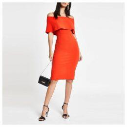 Womens Bright Red cape midi dress