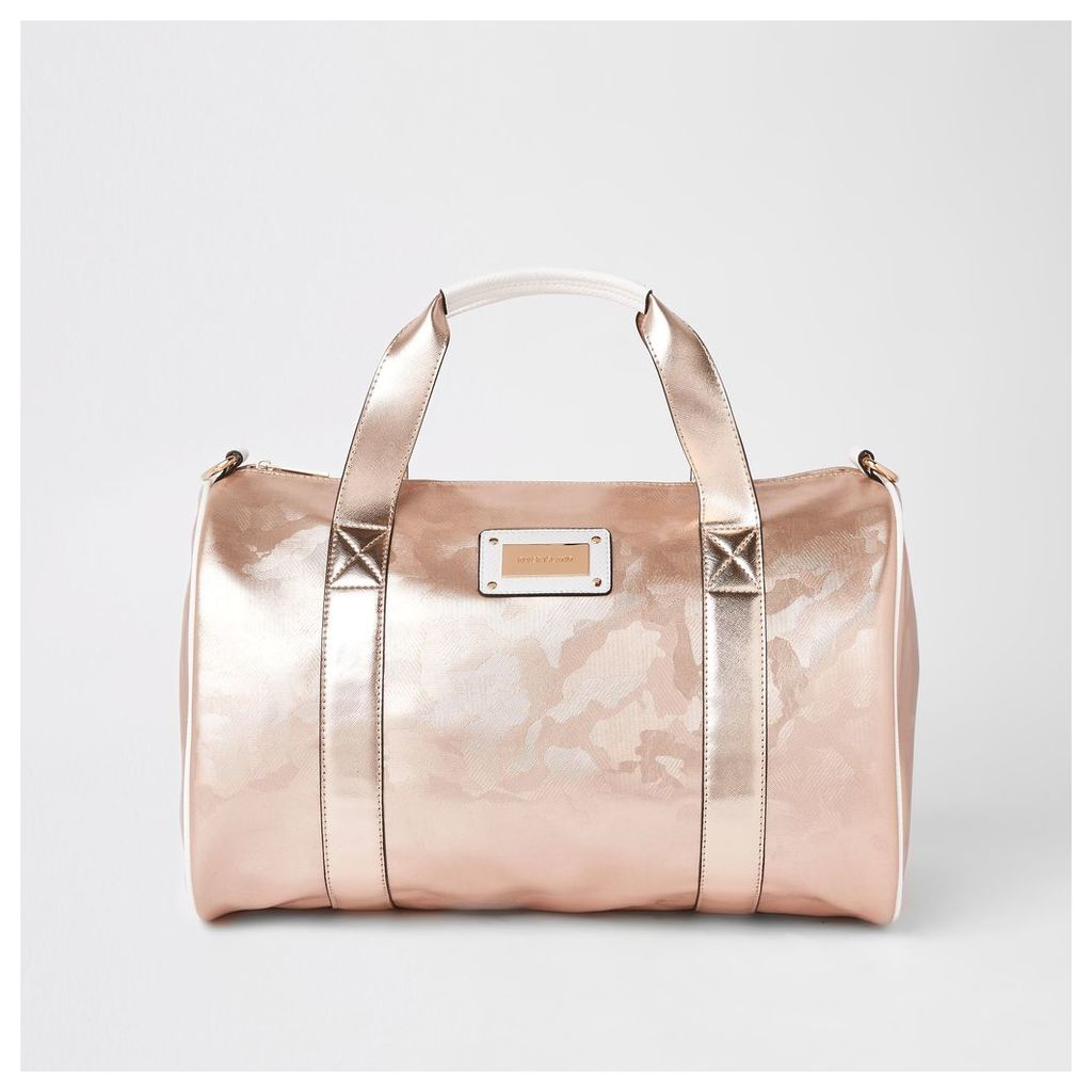 Womens Rose Gold camo large duffle weekend bag