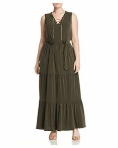 Michael Michael Kors Plus Chain Lace-Up Maxi Dress