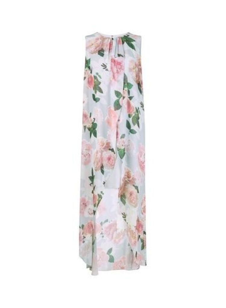 Womens **Billie & Blossom Grey Floral Print Maxi Trapeze Dress- Grey, Grey