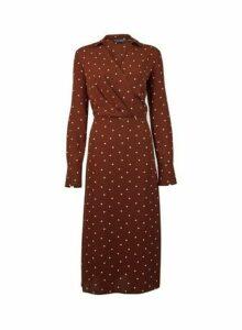 Womens **Tall Brown Spot Print Midi Dress- Brown, Brown