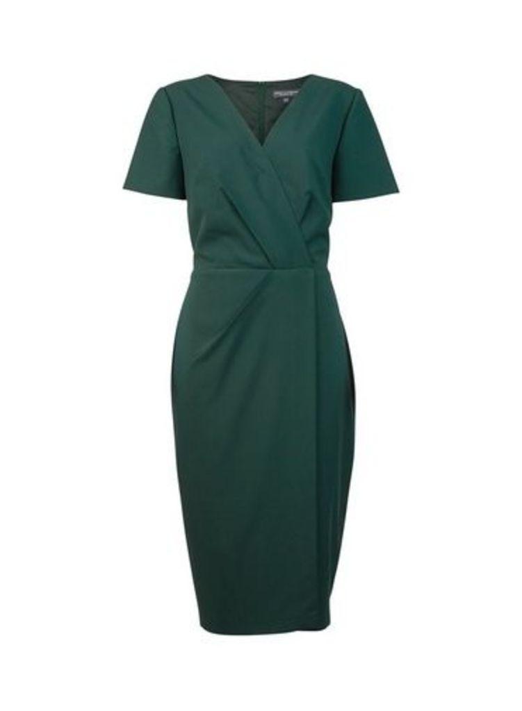 Womens **Tall Green V-Neck Wrap Dress- Green, Green