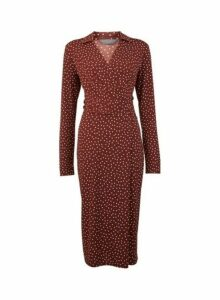 Womens **Tall Brown Spotted Midi Wrap Dress- Brown, Brown