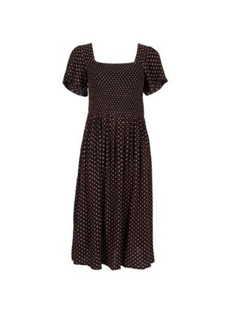 Womens Petite Ginger Spot Print Midi Dress- Ginger, Ginger