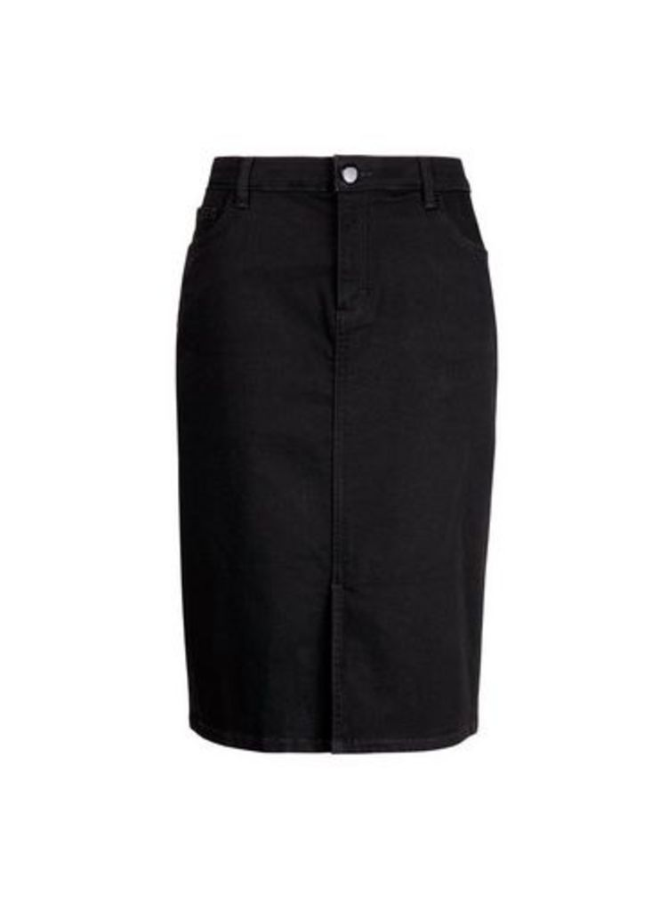 Womens Black Midi Denim Skirt- Black, Black