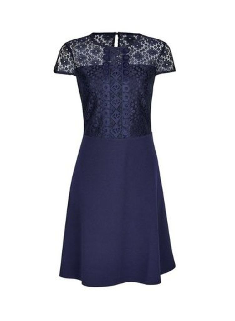 Womens Navy Scuba Lace Top Fit And Flare Dress- Blue, Blue