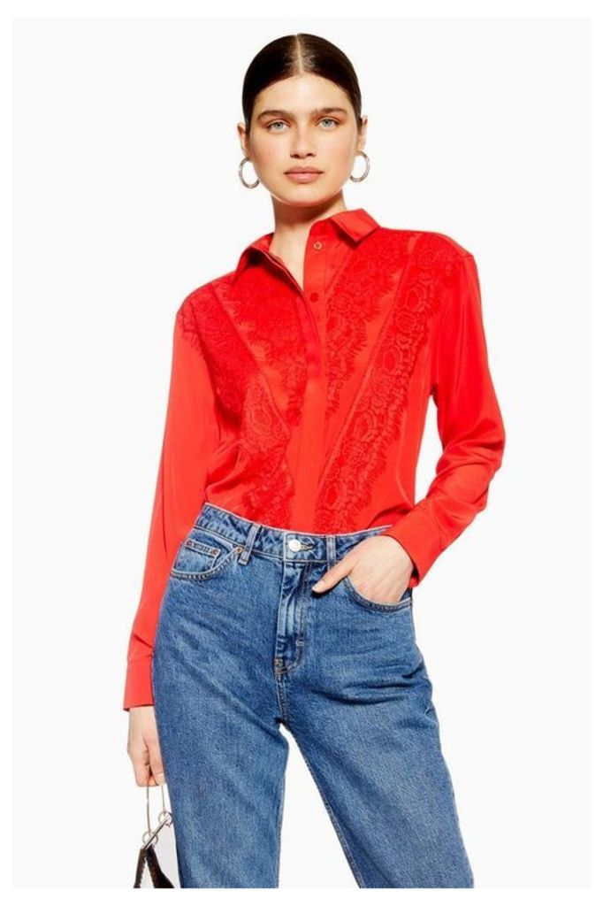 Womens Lace Shirt - Red, Red