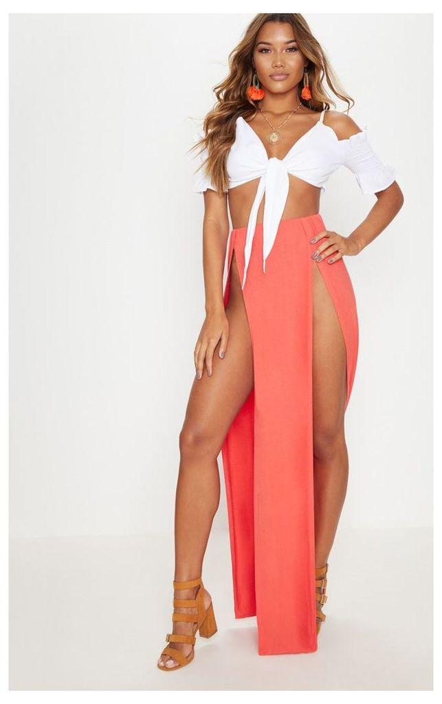 Tangerine Double Split Maxi Skirt, Tangerine