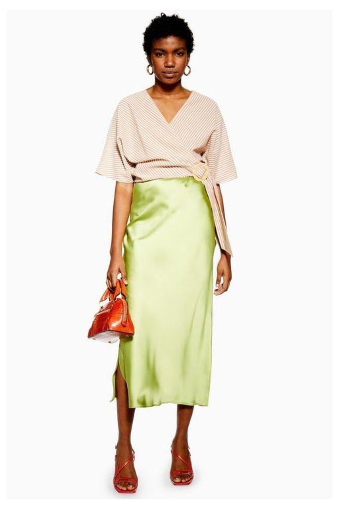Womens Split Side Satin Bias Midi Skirt - Apple Green, Apple Green