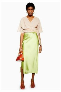 Womens Split Side Satin Bias Midi Skirt - Apple Green, Apple Green
