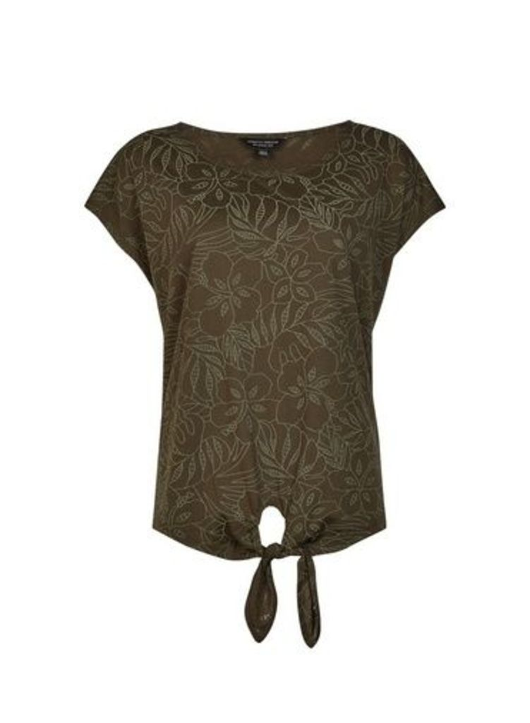 Womens Olive Floral Print T-Shirt- Green, Green