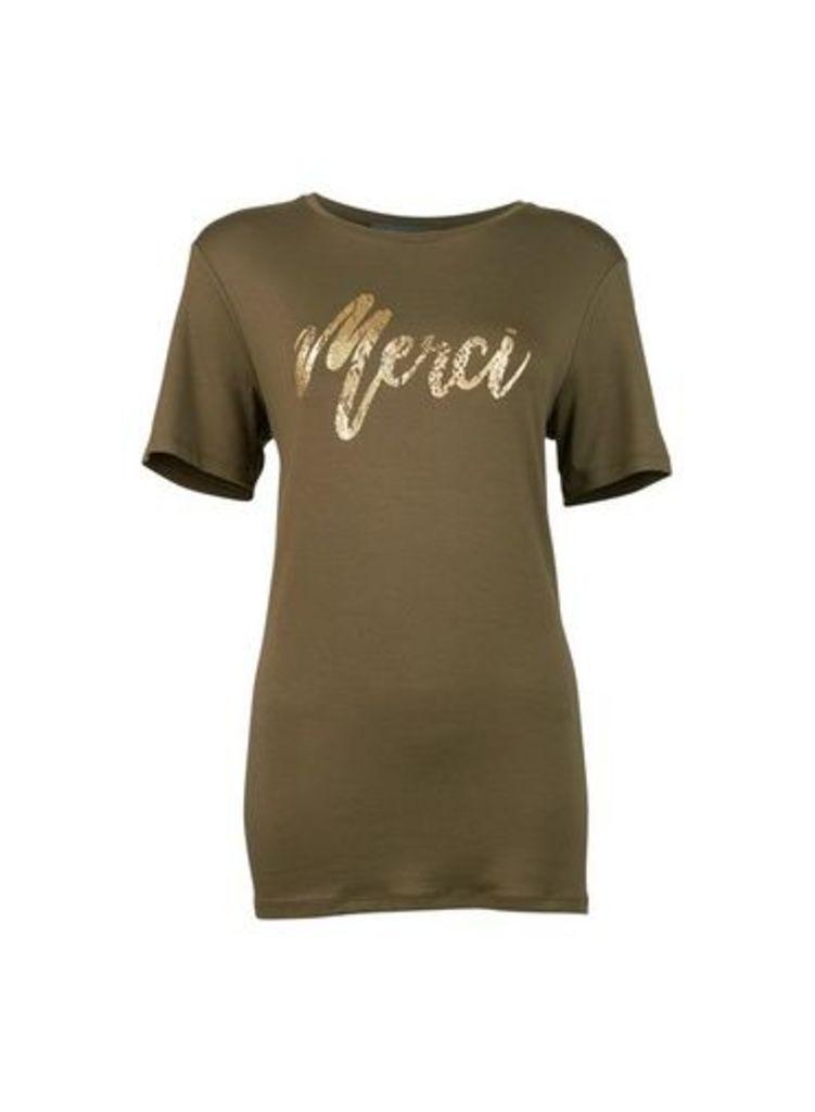 Womens **Tall Khaki 'Merci' T-Shirt- Khaki, Khaki