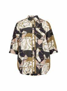Womens **Dp Curve Scarf Print 3/4 Sleeve Shirt- Multi Colour, Multi Colour