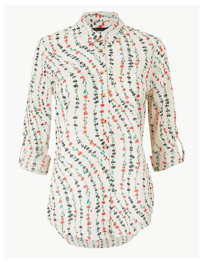 M&S Collection Pure Cotton Floral Print Shirt