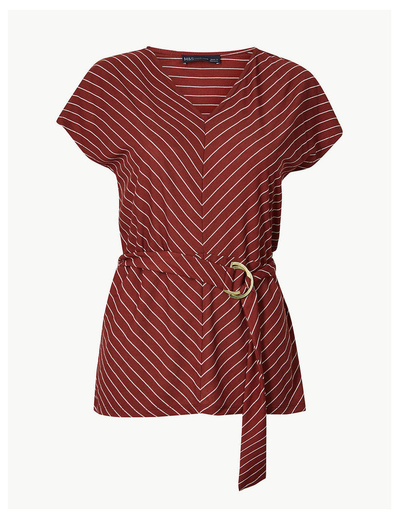 M&S Collection Striped V-Neck Short Sleeve Top