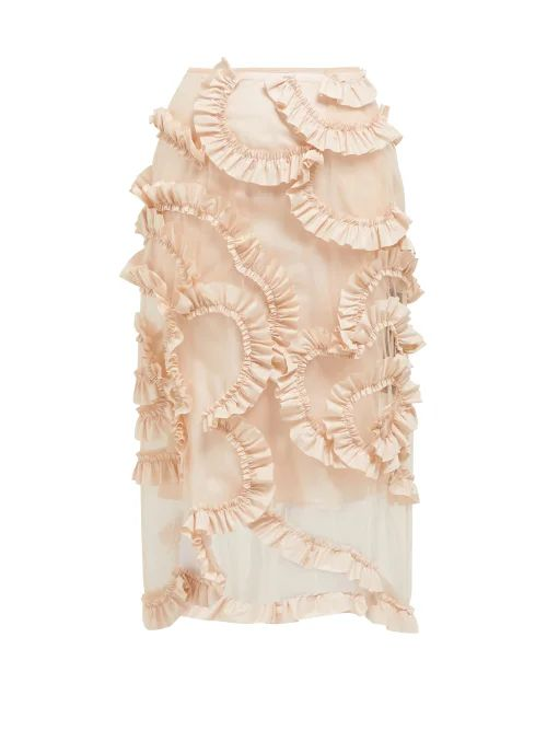4 Moncler Simone Rocha - Ruffled Tulle Skirt - Womens - Light Pink