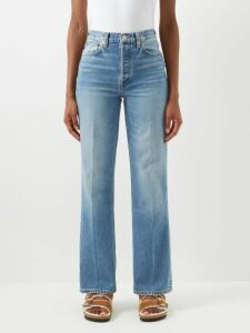 Erdem - Vivianne Rose Print Satin Slip Dress - Womens - Blue Multi