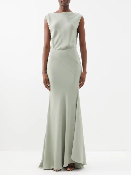 Erdem - Elena Checked Cotton Blend Midi Skirt - Womens - Black White