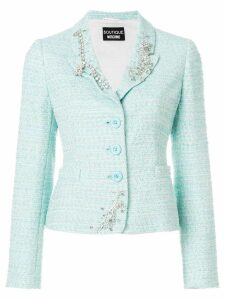 Boutique Moschino embellished tweed blazer - Blue