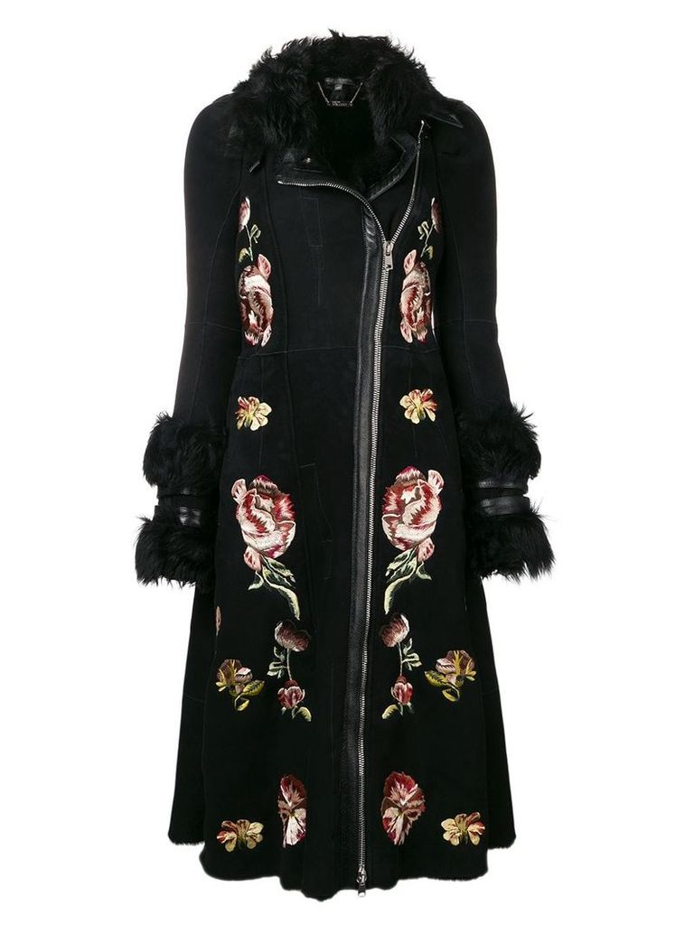 Alexander McQueen floral embroidered coat - Black