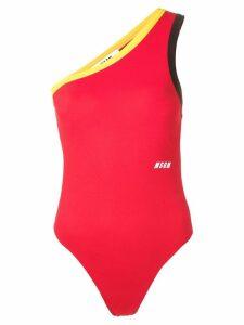 MSGM one shoulder bodysuit - Red