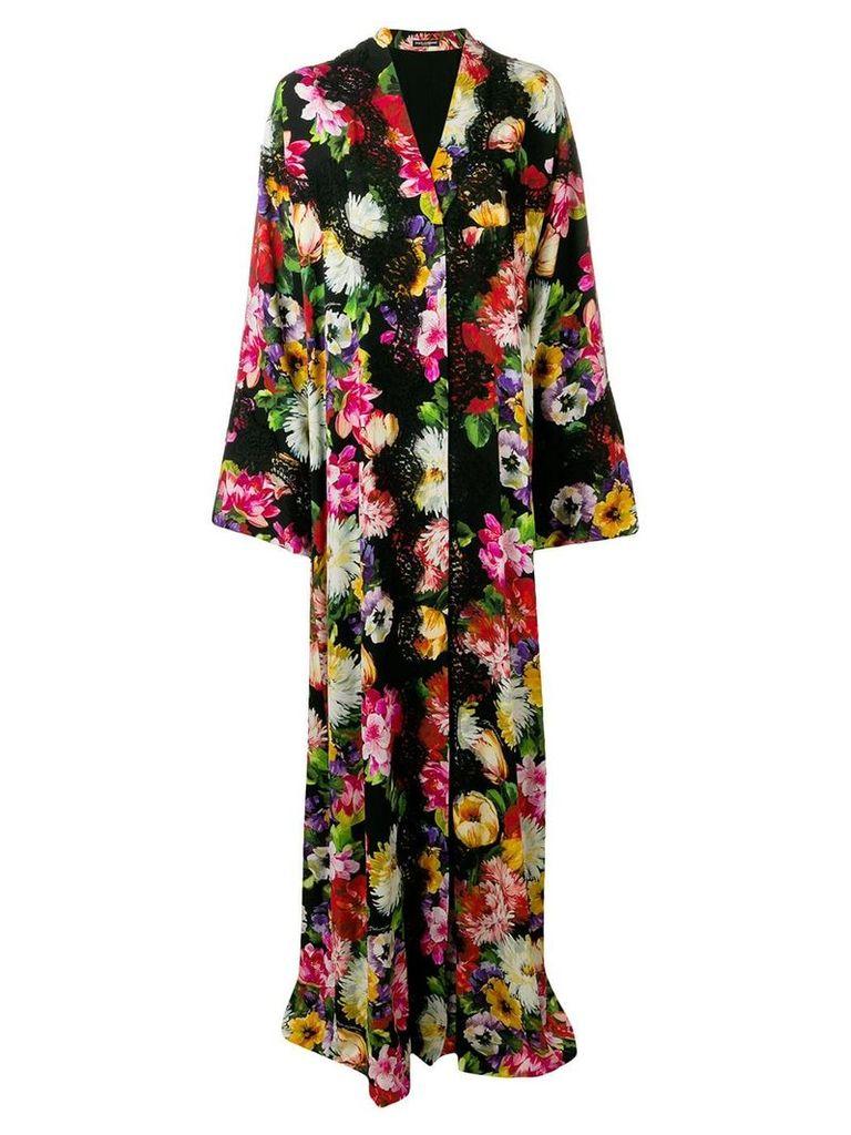 Dolce & Gabbana floral lace trim abaya - Black