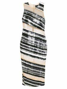 Retrofete sequinned diagonal panelled dress - Black