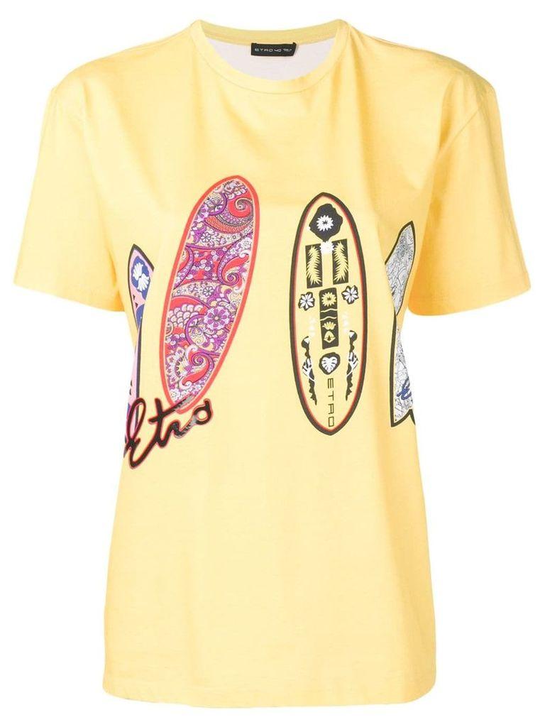 Etro Surfboard print T-shirt - Yellow