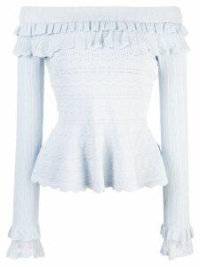 Jonathan Simkhai ruffled knitted top - Blue