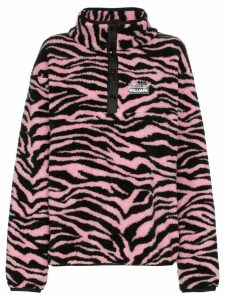 Ashley Williams Juju tiger print button-neck fleece - Pink