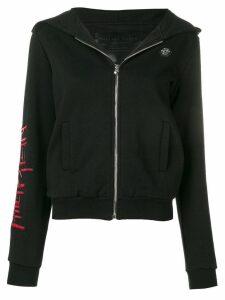 Philipp Plein embellished skull zip front hoodie - Black