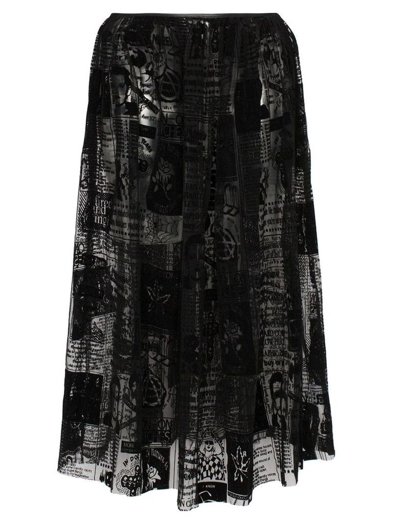 Ashley Williams magazine print mesh midi skirt - Black