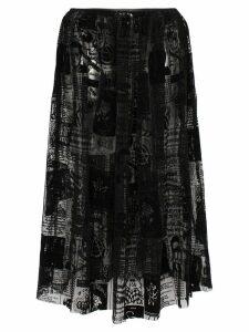 Ashley Williams magazine print mesh midi skirt - Black