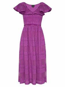Giambattista Valli V-neck ruffle silk cotton blend dress - Pink