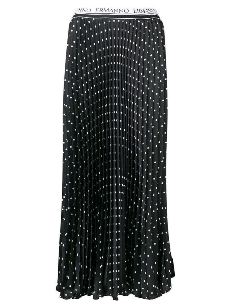 Ermanno Ermanno pleated polka dot skirt - Black