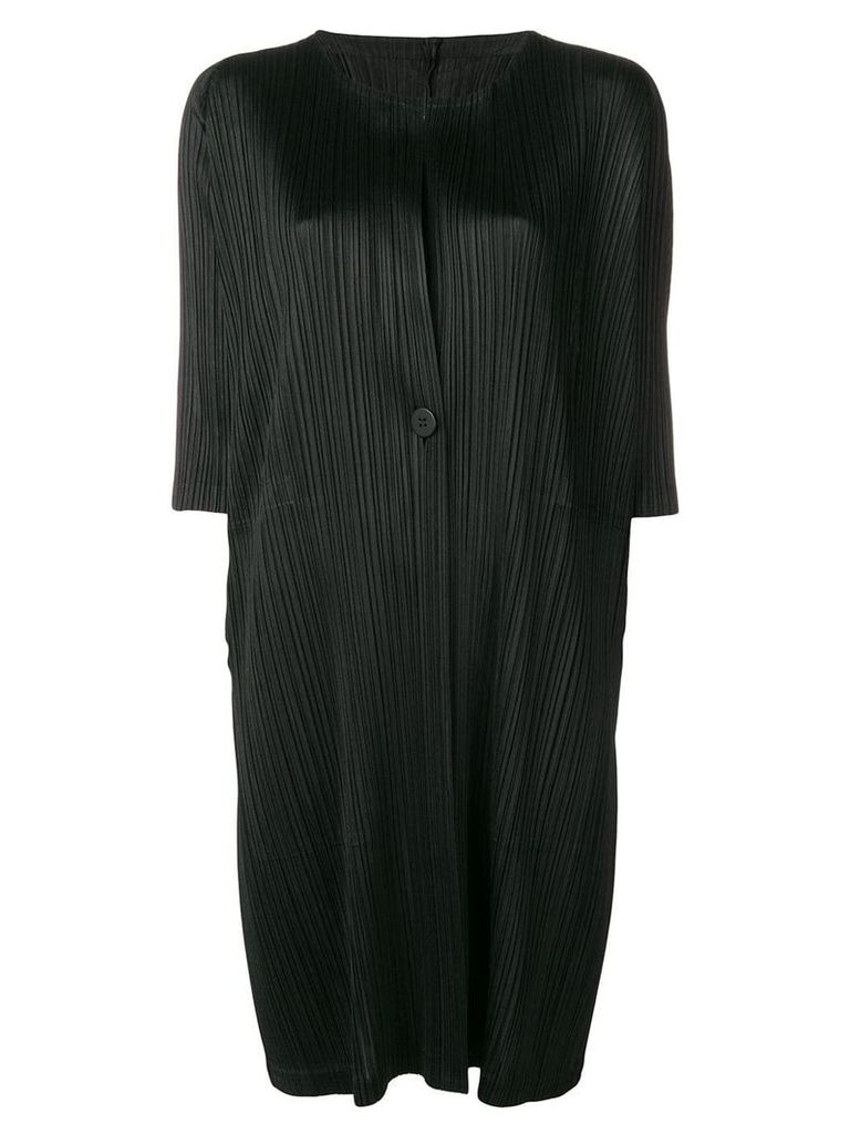 Pleats Please By Issey Miyake pleated fitted coat - Black