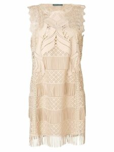 Alberta Ferretti fringed mini dress - Neutrals