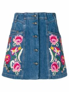 Etro floral button-down denim skirt - Blue