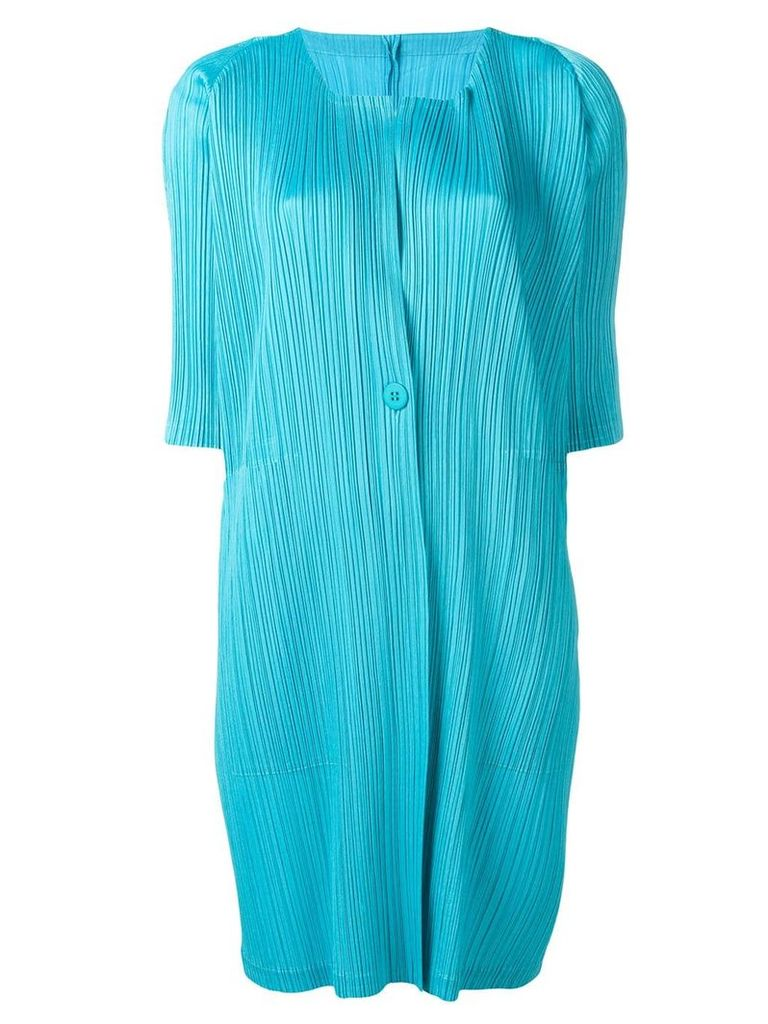 Pleats Please By Issey Miyake pleated fitted coat - Blue