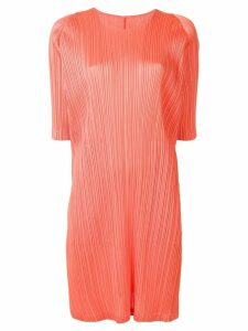 Pleats Please By Issey Miyake short-sleeve pleated dress - Orange