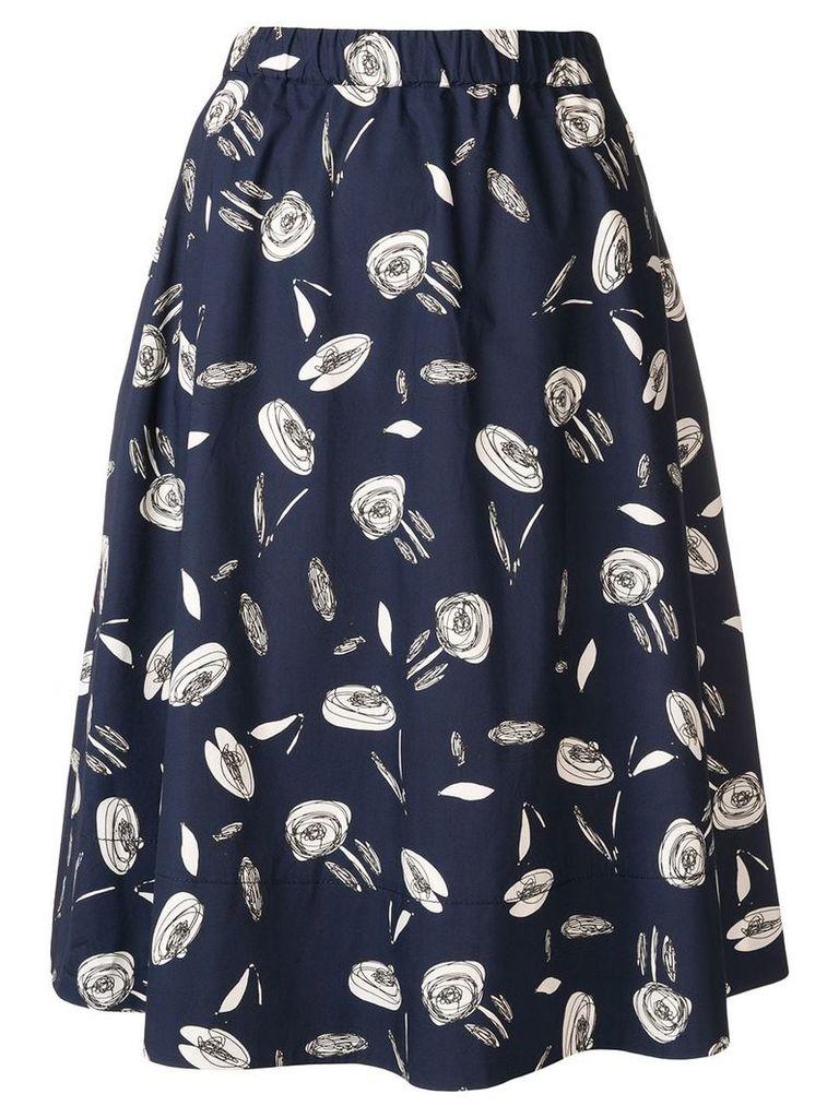 Antonelli rose print midi skirt - Blue