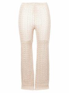 Alberta Ferretti cropped knitted trousers - Neutrals