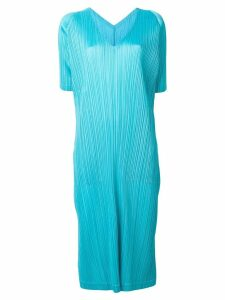 Pleats Please By Issey Miyake pleated flared midi dress - Blue
