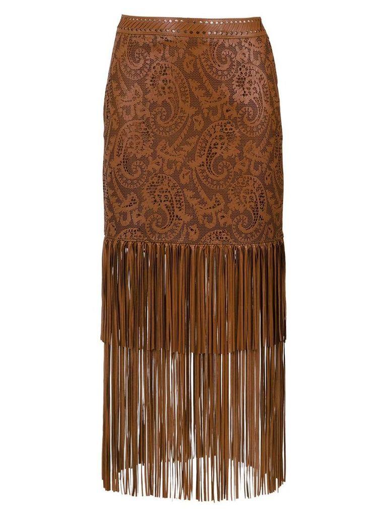 Nk leather midi skirt - Brown