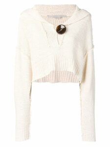 Stella McCartney cropped knitted jumper - White