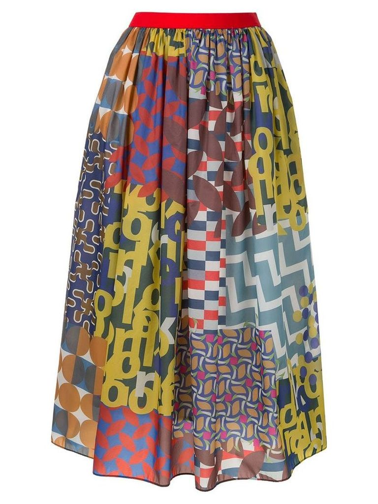 Kolor patchwork midi skirt - Multicolour