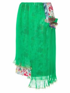 Kolor double layer pleated skirt - Green
