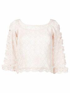 Alberta Ferretti sheer knitted blouse - Pink